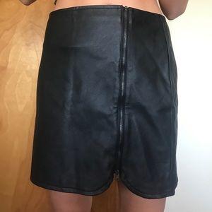 Hollister Black Leather Zipper Mini Skirt Size S